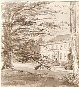 1853 water-colour by Elizabeth Princep of the original 18th century manor house of Upper Gatton Park, High Road