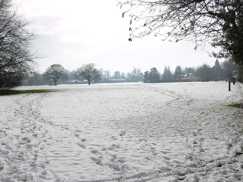Chipstead Meads, looking south towards the bowling club, winter 2007