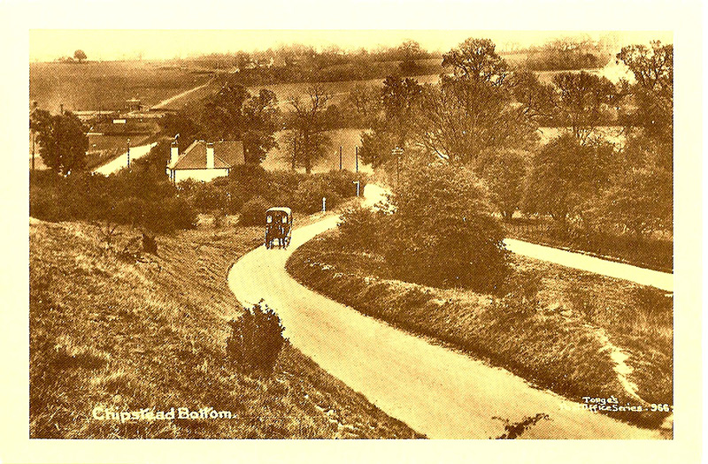 Looking east across the Chipstead valley from Park Road, circa 1907. Note the lack of trees
