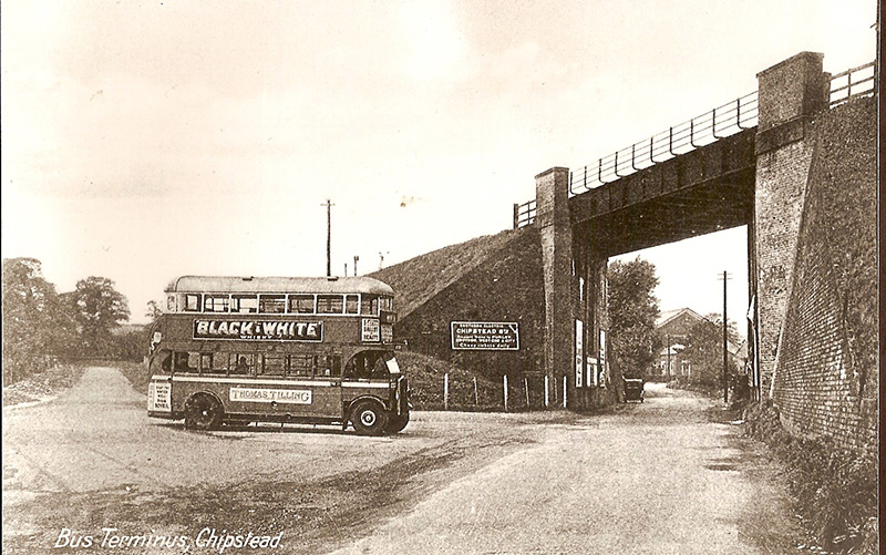 The bottom of How Lane, circa 1930. Note the open staircase on the bus